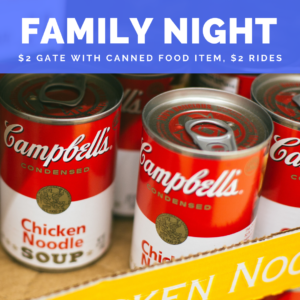 Two Dollar Tuesday Family Night canned food items