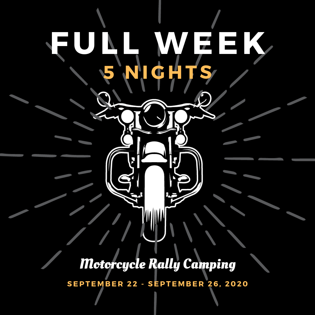 Motorcycle Rally Camping September 2020 Fayetteville Arkansas - Full week, 5 Nights