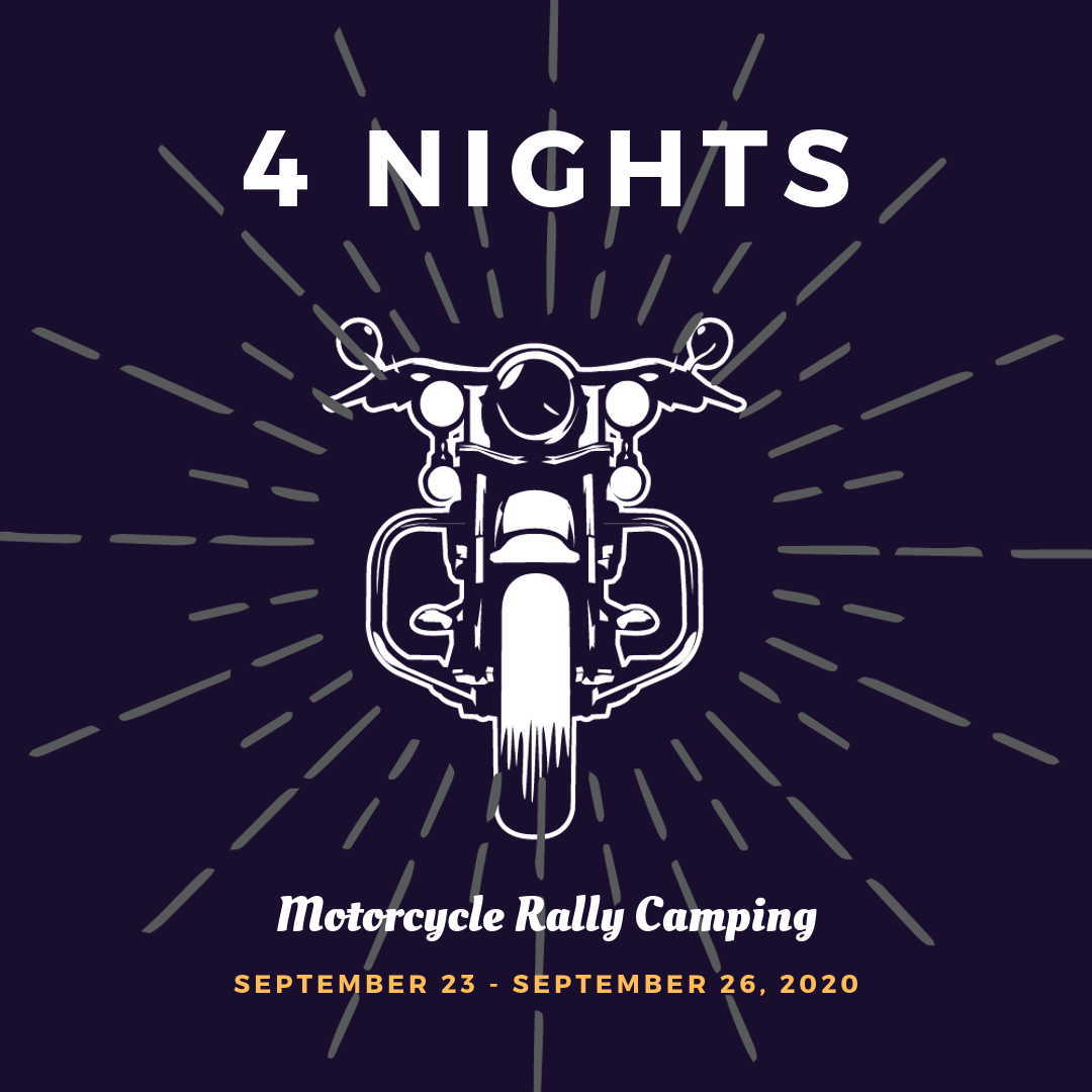 Motorcycle Rally Camping September 2020 Fayetteville Arkansas - 4 Nights