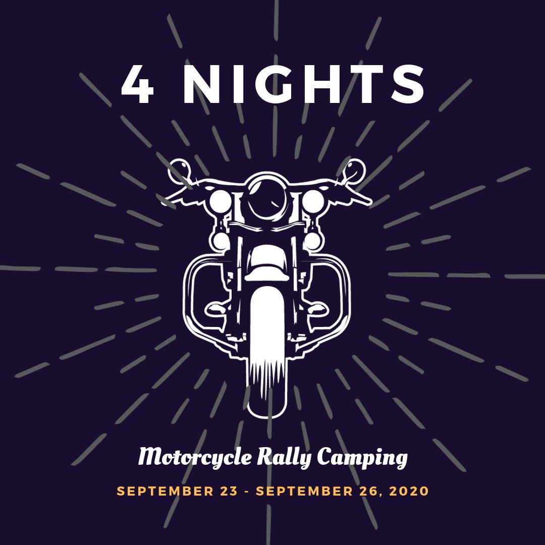 Motorcycle Rally Camping September 2020 Fayetteville Arkansas - 4 Nights